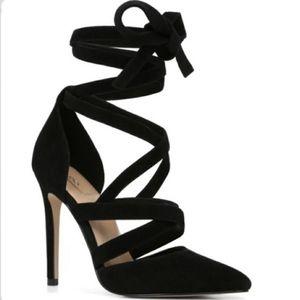 Aldo Black Suede Lace Up Ankle Wrap Pump Heels